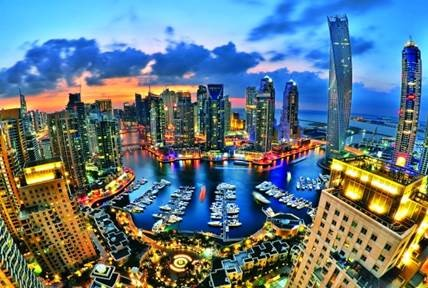 Artistic image of Dubai towering buildings