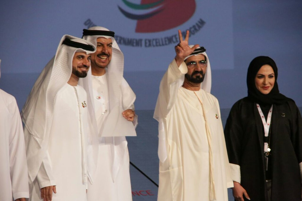 ​Image :  His Highness Sheikh Mohammed looms victory signs to DSC's staff